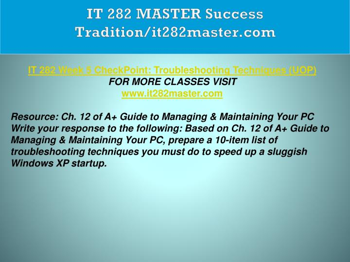 IT 282 MASTER Success Tradition/it282master.com