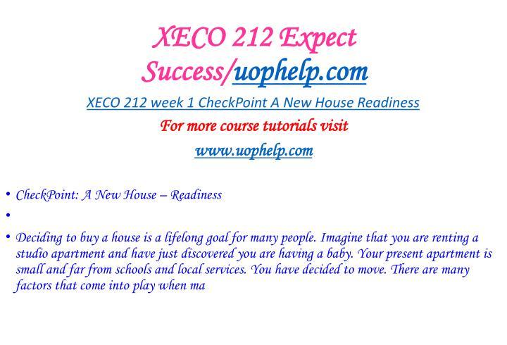 Xeco 212 expect success uophelp com1