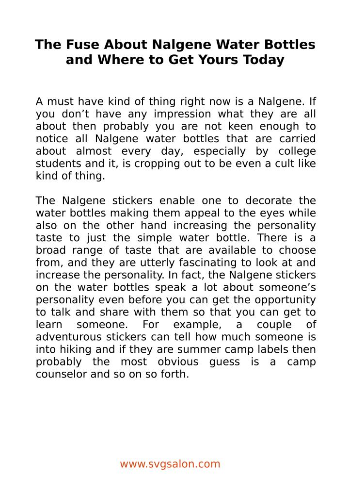 The Fuse About Nalgene Water Bottles