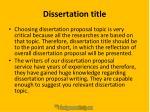 dissertation title