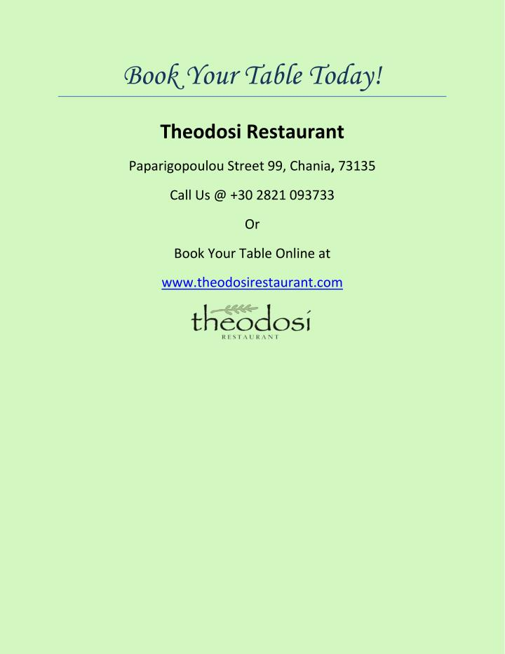Book Your Table Today!