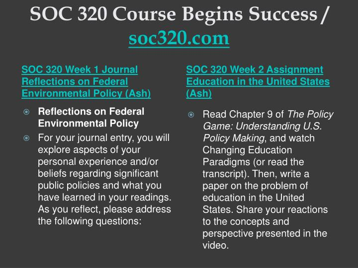 Soc 320 course begins success soc320 com2