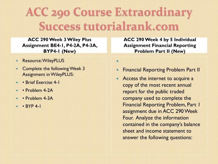 ACC 290 Week 3 Wiley Plus Assignment BE4-1, P4-2A, P4-3A, BYP4-1 (New)