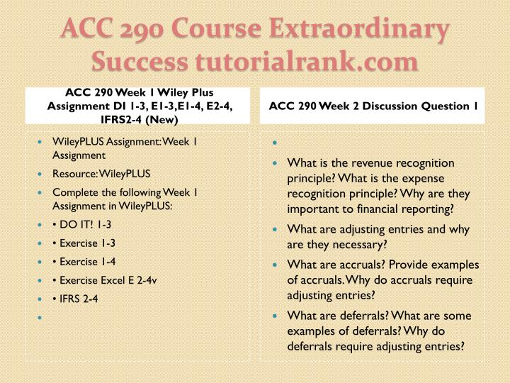 ACC 290 Week 1 Wiley Plus Assignment DI 1-3, E1-3,E1-4, E2-4, IFRS2-4 (New)