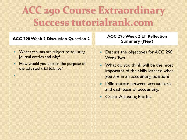 ACC 290 Week 2 Discussion Question 2