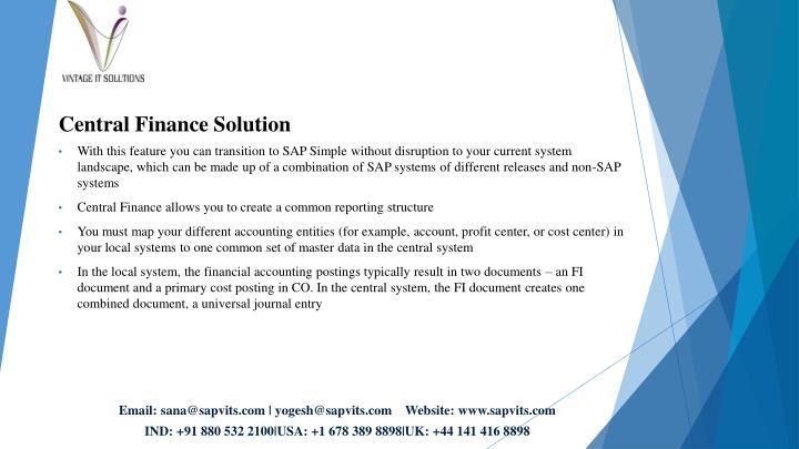Central Finance Solution