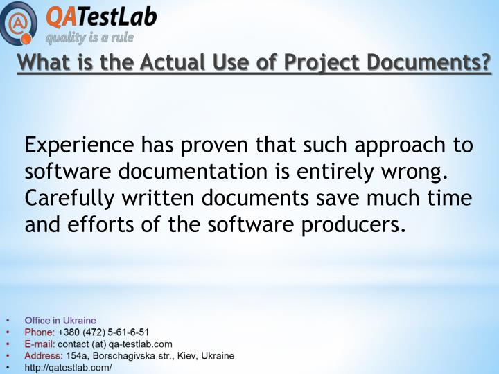 What is the Actual Use of Project Documents?