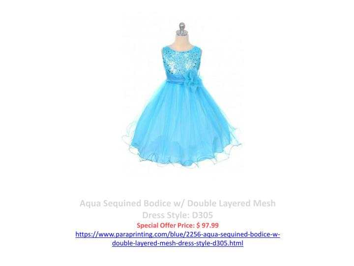 Aqua Sequined Bodice w/ Double Layered Mesh Dress Style: D305