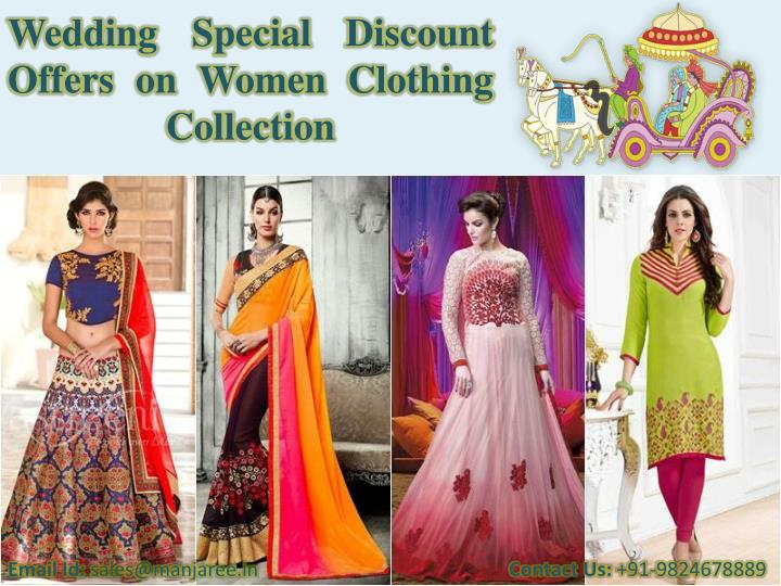 Wedding special discount offers on women clothing collection