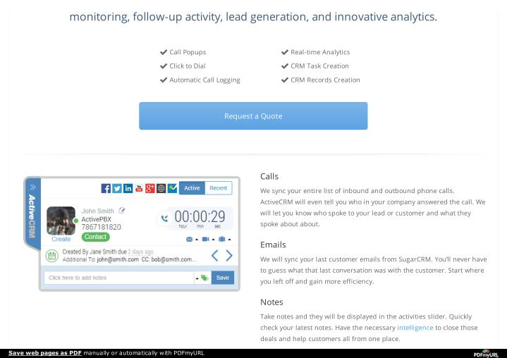 Monitoring, follow-up activity, lead generation, and innovative analytics.