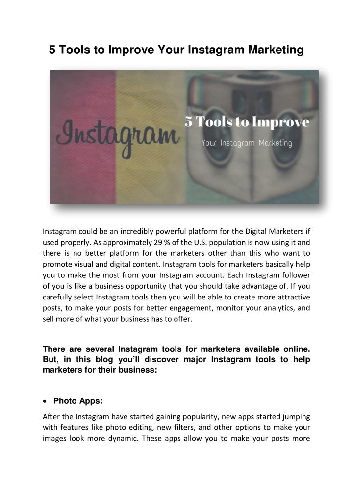 5 Tools to Improve Your Instagram Marketing