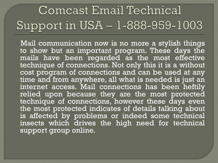 comcast email technical support in usa 1 888 959 1003
