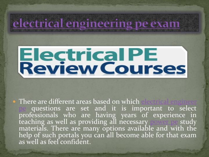 electrical engineering pe exam