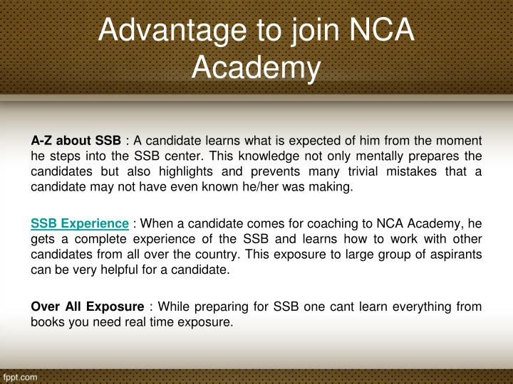 Advantage to join NCA Academy