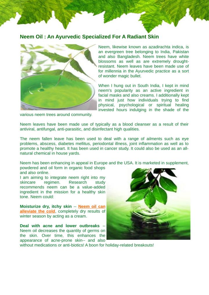 Neem Oil : An Ayurvedic Specialized For A Radiant Skin