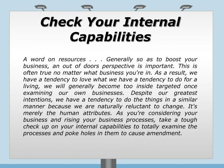 Check Your Internal Capabilities