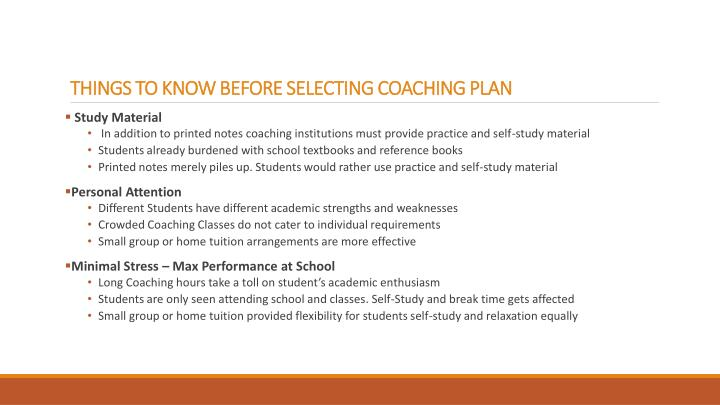 things to know before selecting coaching plan