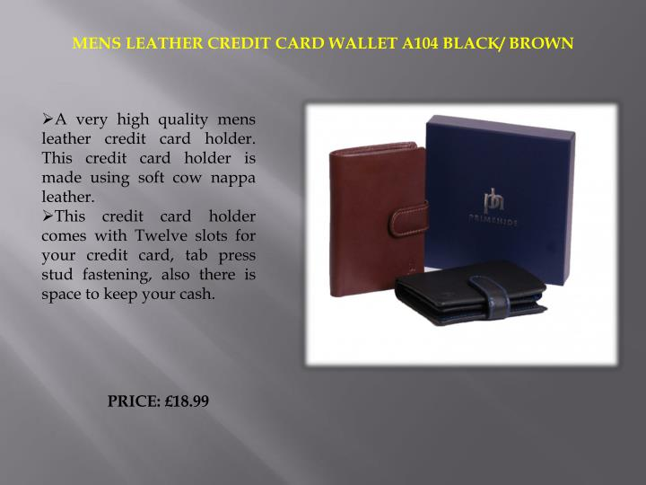 MENS LEATHER CREDIT CARD WALLET A104 BLACK/ BROWN