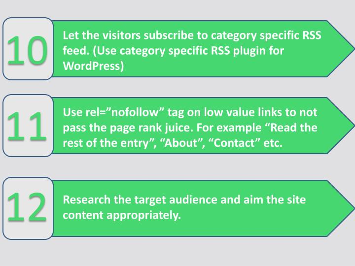 Let the visitors subscribe to category specific RSS feed. (Usecategory specific RSS