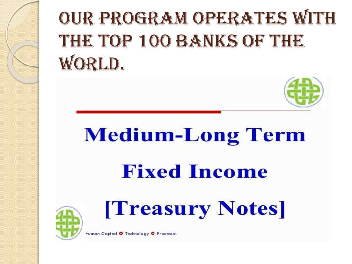 Our Program Operates with the Top 100 Banks of the World.