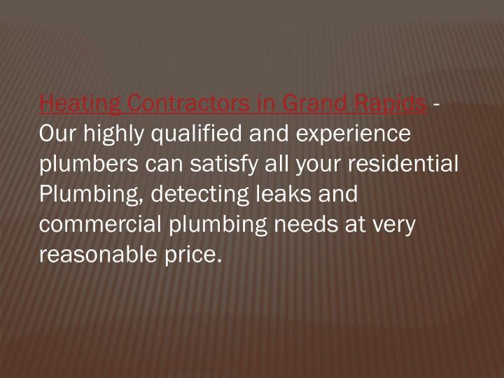 Heating Contractors in Grand Rapids