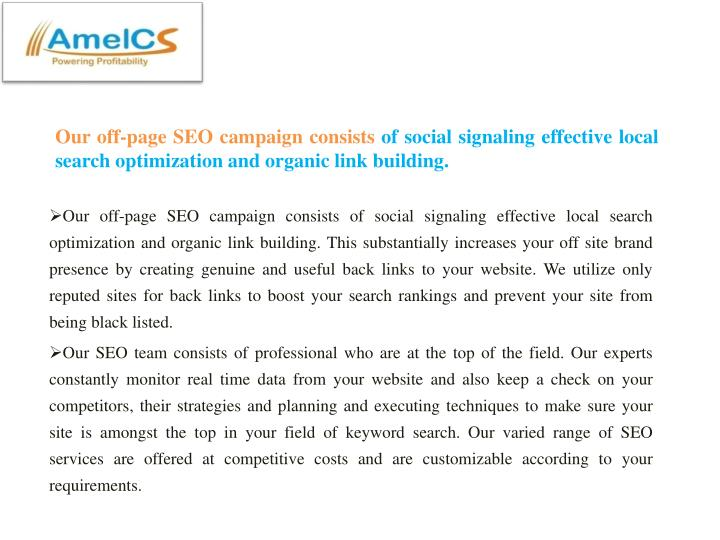 Our off-page SEO campaign consists