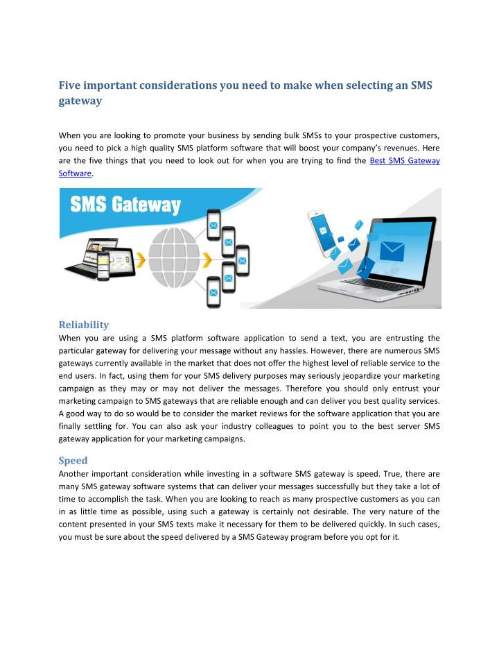 Five important considerations you need to make when selecting an SMS
