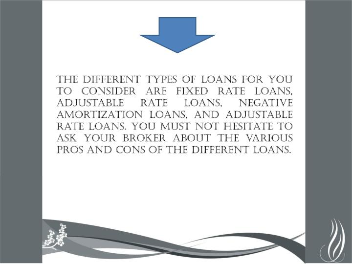 The different types of loans for you to consider are fixed rate loans, adjustable rate loans, negative amortization loans, and adjustable rate loans. You must not hesitate to ask your broker about the various pros and cons of the different loans.