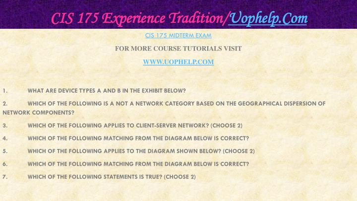 Cis 175 experience tradition uophelp com2