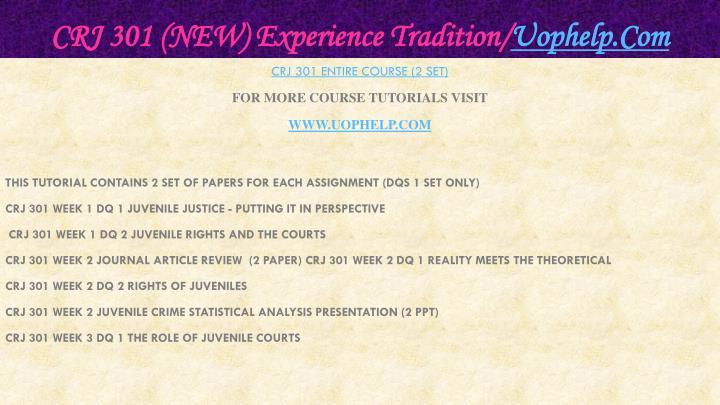 Crj 301 new experience tradition uophelp com1