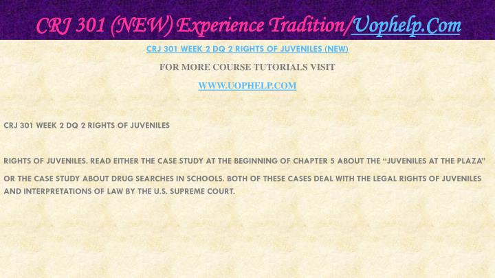 CRJ 301 (NEW) Experience Tradition/
