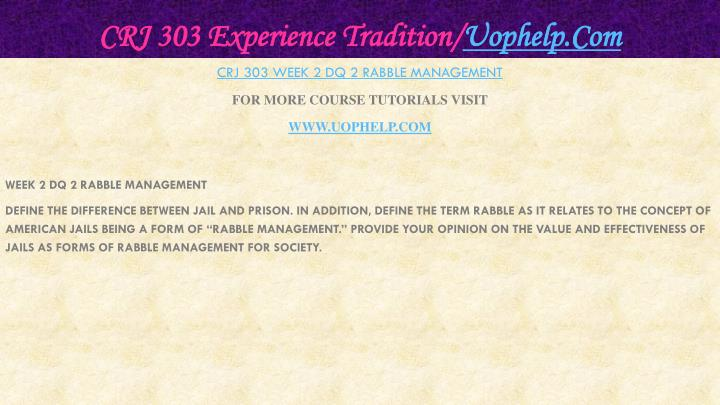 CRJ 303 Experience Tradition/