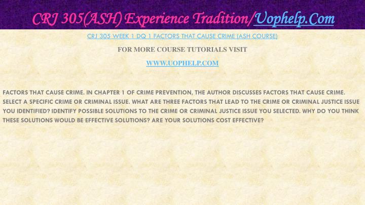 Crj 305 ash experience tradition uophelp com1
