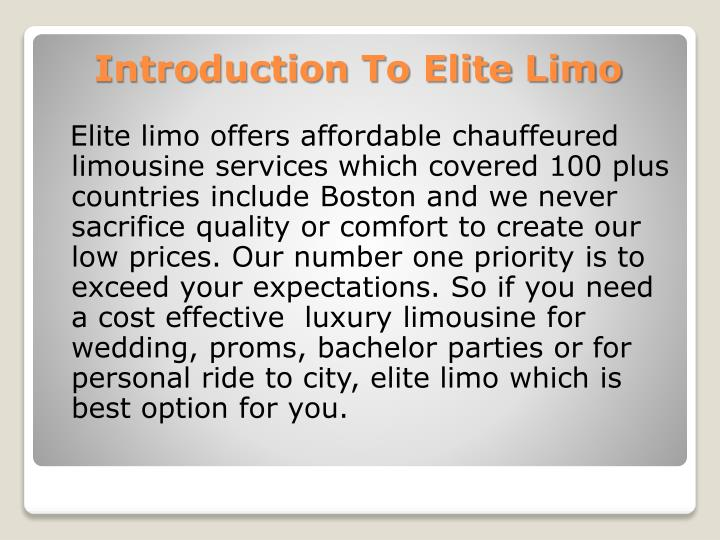 Introduction to elite limo