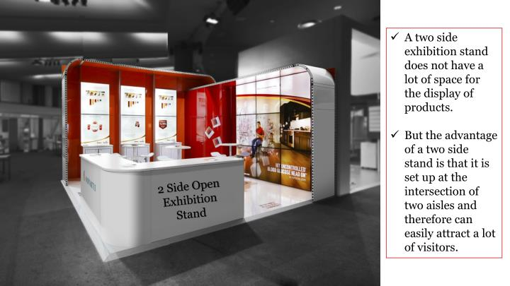 A two side exhibition stand does not have a lot of space for the display of products.