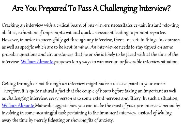 Are You Prepared To Pass A Challenging Interview?