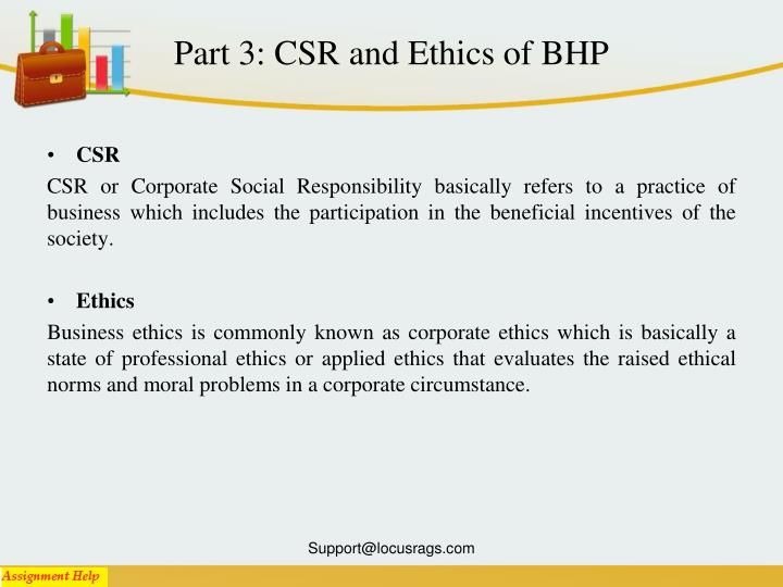 Part 3: CSR and Ethics of BHP