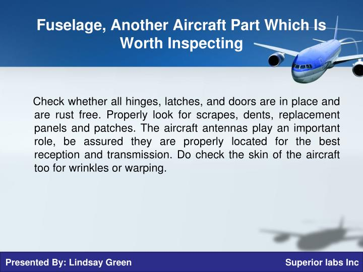 Fuselage, Another Aircraft Part Which Is Worth Inspecting