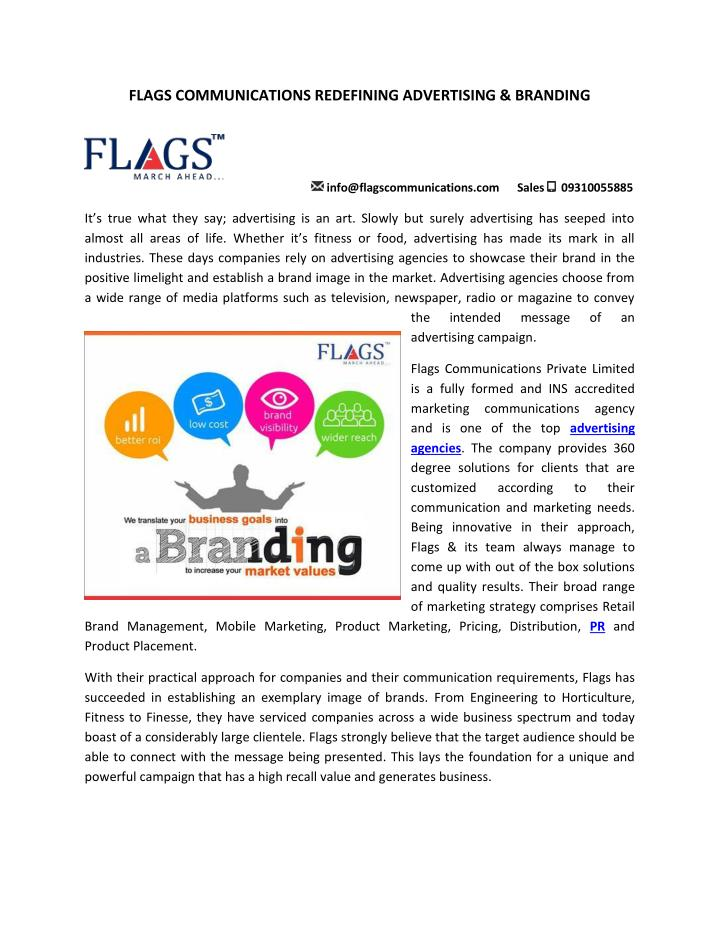 FLAGS COMMUNICATIONS REDEFINING ADVERTISING & BRANDING