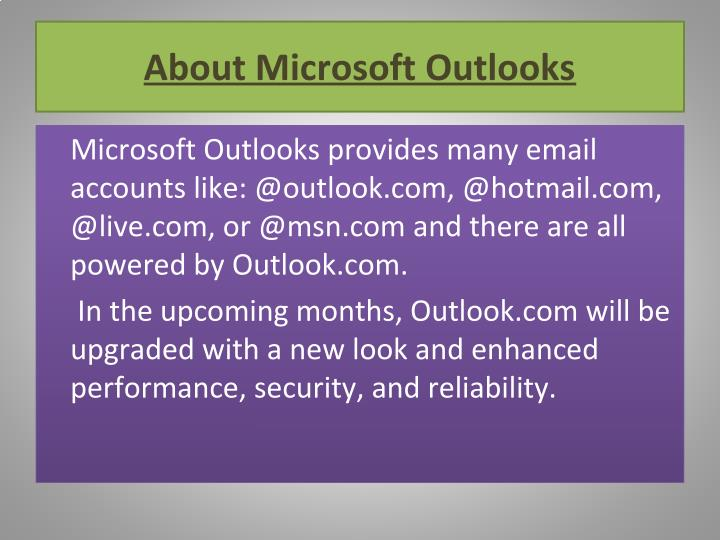 About Microsoft Outlooks