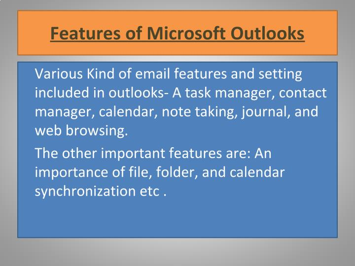 Features of Microsoft Outlooks