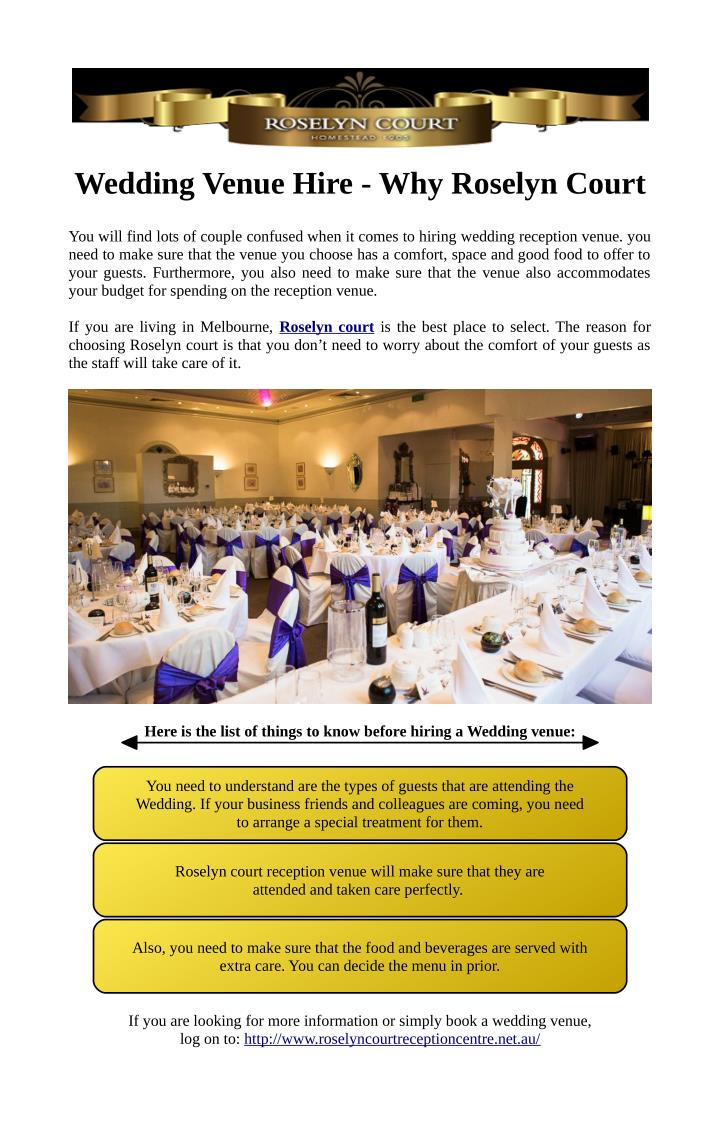 Wedding Venue Hire - Why Roselyn Court