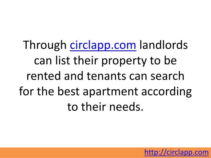 Through circlapp.com landlords