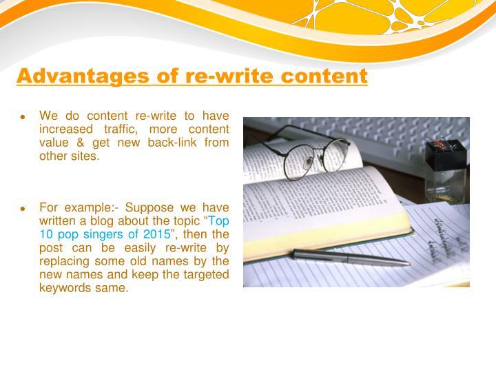 Advantages of re-write content