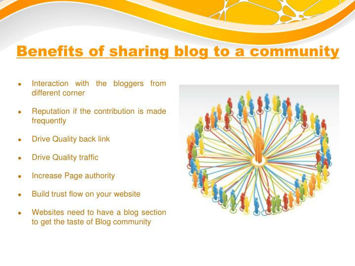 Benefits of sharing blog to a community