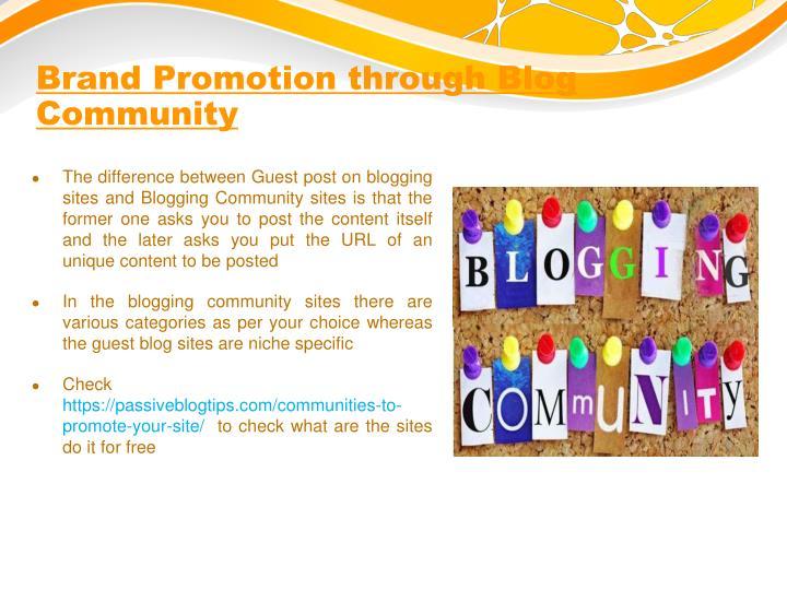 Brand Promotion through Blog Community