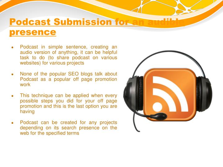 Podcast Submission for an audible presence