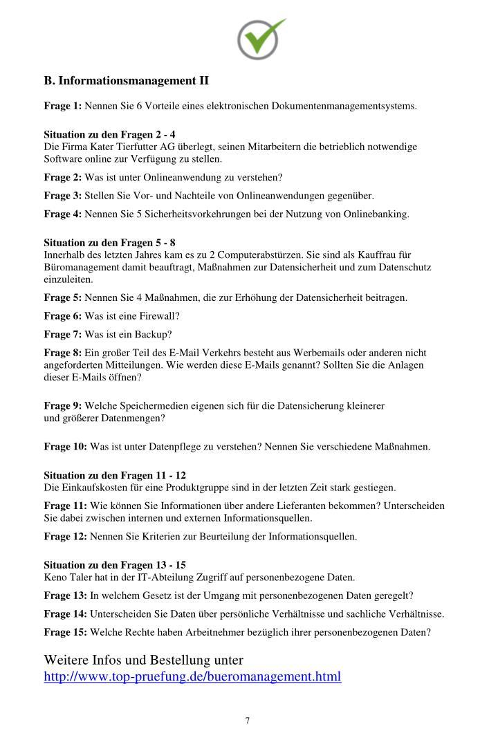 B. Informationsmanagement II