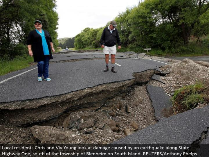 Local occupants Chris and Viv Young take a gander at harm brought about by a tremor along State Highway One, south of the township of Blenheim on South Island. REUTERS/Anthony Phelps