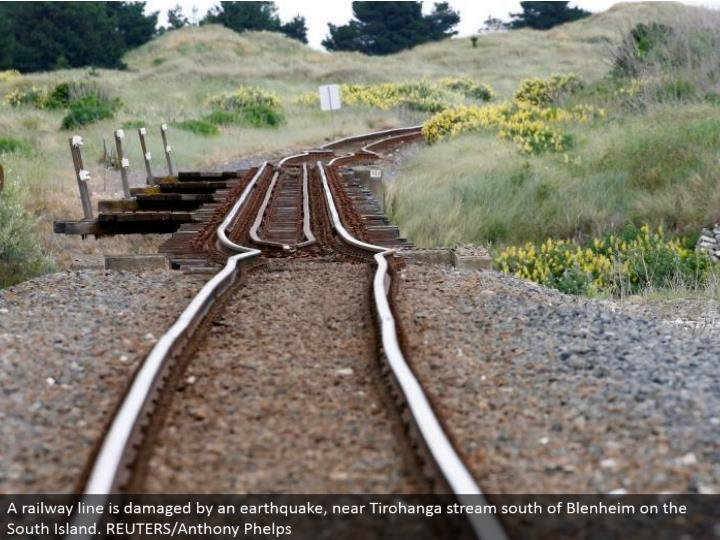A railroad line is harmed by a seismic tremor, close Tirohanga stream south of Blenheim on the South Island. REUTERS/Anthony Phelps